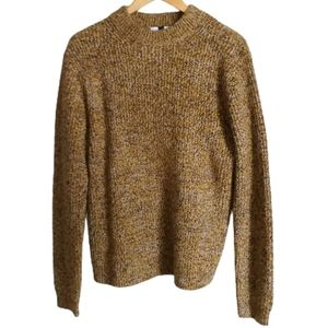 MEN TOPMAN Mustard Chunky Knitted Crewneck Sweater
